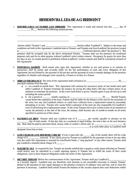 simple one page lease agreement fill online printable
