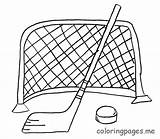 Coloring Hockey Pages Printable Sticks Stick Puck Skates Ice Jerseys Popular sketch template