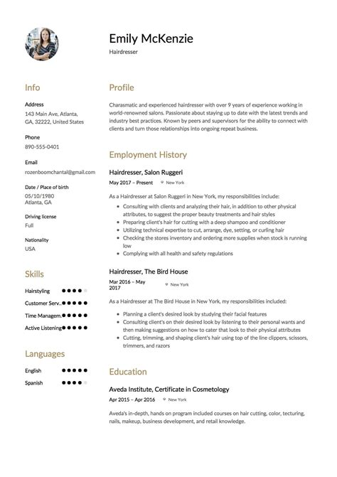 Www Resume by Hairdresser Resume Bestdressers 2019