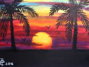 Sunset with Palm Trees Paintings