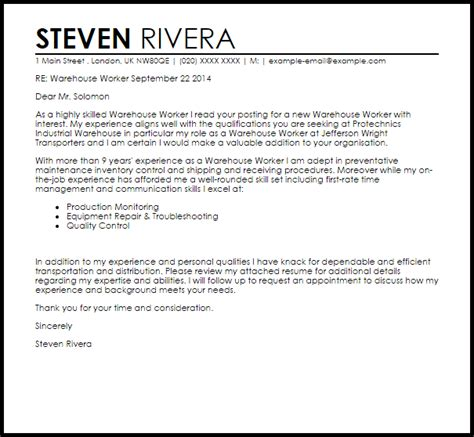 Cover Letter For Warehouse Worker by Warehouse Worker Cover Letter Sle Livecareer