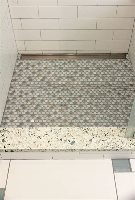 Mosaic Tile Shower Floor - shower threshold in vetrazzo mosaic tile shower