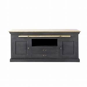 Meuble Tv Manguier : meuble tv en manguier noir l 140 cm chinon maisons du monde ~ Teatrodelosmanantiales.com Idées de Décoration