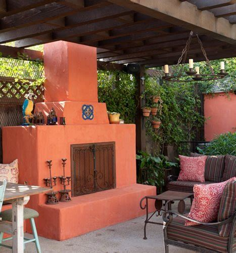 Stucco Fireplaces Outdoors  Landscaping Network