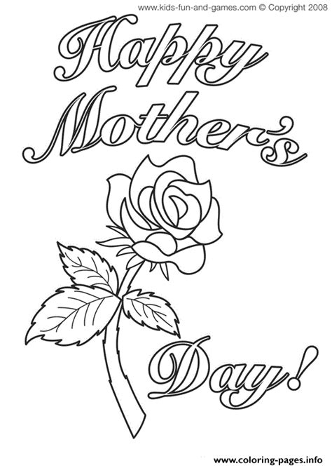 mothers day cards rose flower coloring pages printable