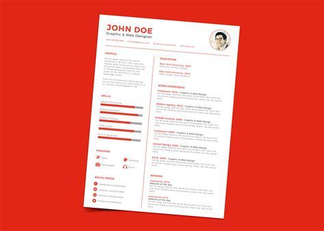 free clean minimal resume cv design template ai file