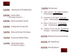 order of wedding reception wedding reception order of events program reception order