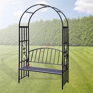 Arche Metal Pour Plante Grimpante : arche de jardin turin avec banc pour rosier et plante ~ Premium-room.com Idées de Décoration