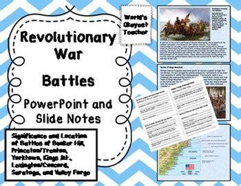 revolutionary war battles powerpoint   notes tpt