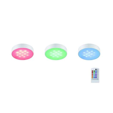 commercial electric led puck light commercial electric 3 light led rgb puck light kit