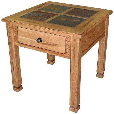 slate top end table rustic oak slate collection rustic oakslate top table