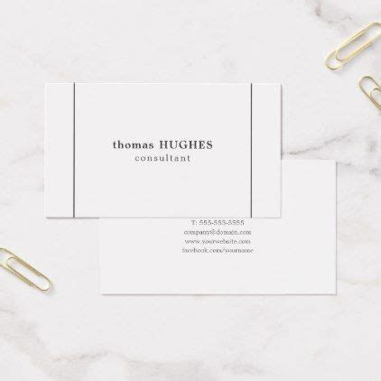 simple elegant grey lines white consultant business card