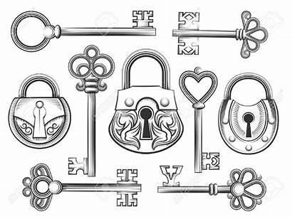 Key Drawing Lock Keyhole Padlock Vector Drawn