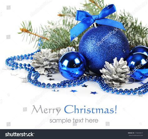 blue christmas decorations silver pine cones stock photo
