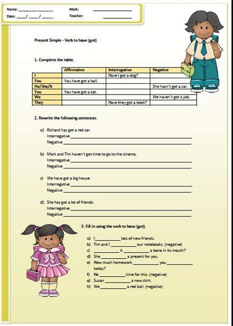 Present Simple Havehas Got Worksheet