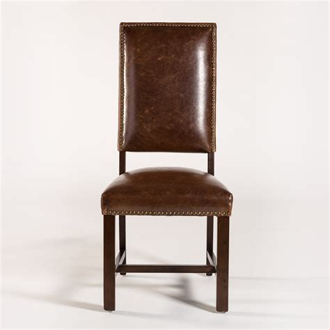 alder tweed weston dining side chair with leather back