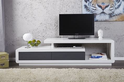 meuble tv design laque blanc anthracite 170 cm