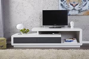 Meuble Tv Tendance : meuble tv design alice laque blanc anthracite 170 cm ~ Premium-room.com Idées de Décoration