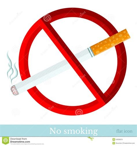 Flat Sign No Smoking Cigarette With Red Circle Stock ...