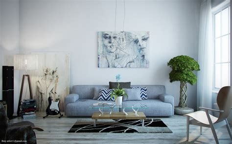 grey sofa white walls grey sofa white wall monochrome painting brown chair white wooden floor kvriver com