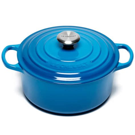 le creuset signature cast iron casserole dish 24cm marseille blue iwoot