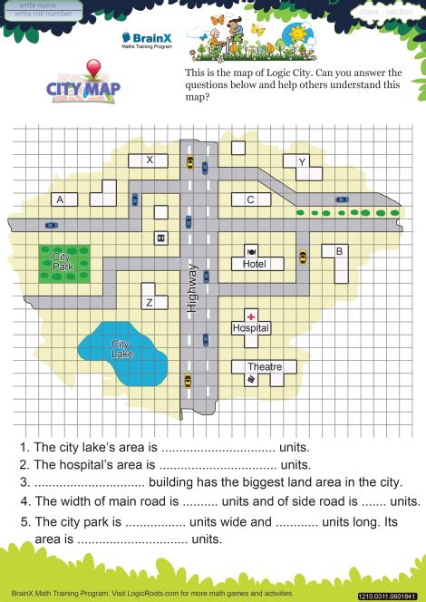 city map math worksheet for grade 3 free printable