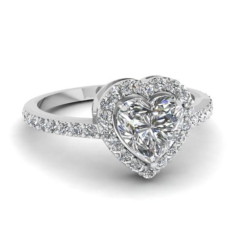 heart shaped halo diamond engagement ring in 14k white