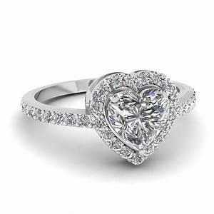 Heart Shaped Halo Diamond Engagement Ring In 14K White ...