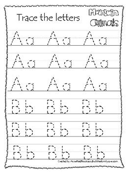 mountain animals themed   tracing worksheets printable