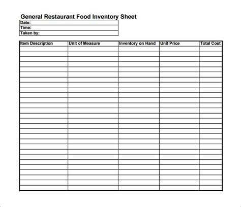 inventory sheet template   samples examples format