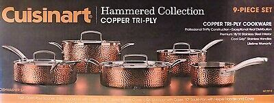 cuisinart  piece hammered copper cookware set  shipping   ebay