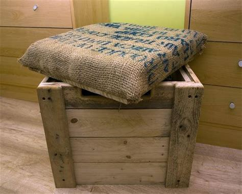 how to build an ottoman burlap cushioned pallet ottoman toy box
