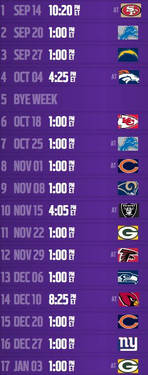 vikings  schedule nflcom