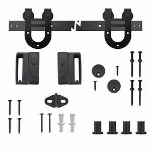 everbilt black horseshoe decorative sliding door hardware With barn door floor bracket