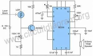Laser Trip Wire Alarm Using 556 Ic