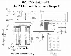 8051 Calculator With 16x2 Lcd And Telephone Keypad