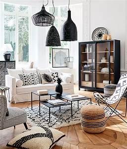 Deco Noir Et Blanc : un salon boh me en noir et blanc avec des accents boho ~ Melissatoandfro.com Idées de Décoration