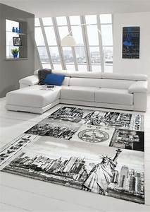 Teppich New York : designer teppich moderner teppich wohnzimmer teppich new york design grau creme ebay ~ Orissabook.com Haus und Dekorationen