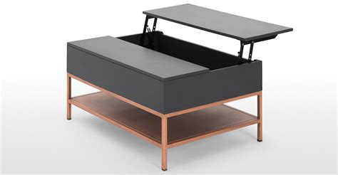 table and storage lomond lift top coffee table with storage grey and copper
