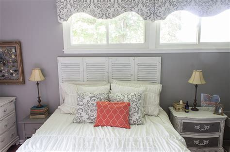 gray and coral bedroom makeover diy and thrift from top