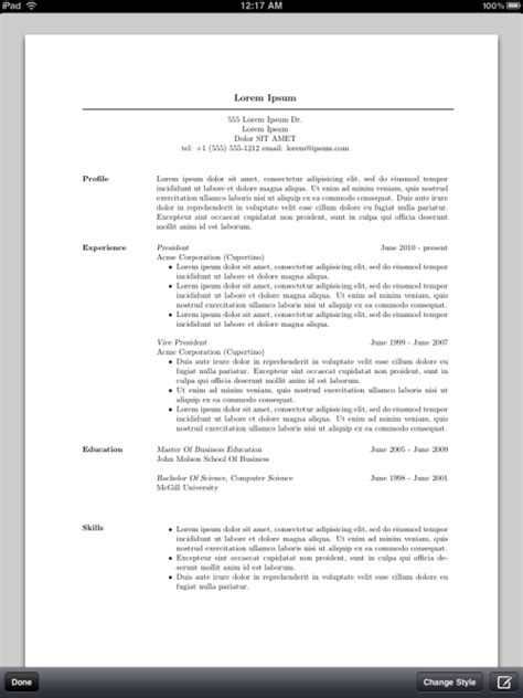 pocket resume iphone