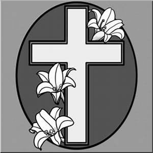 Cross with Easter Lilies Clip Art - Grayscale - Religious ...