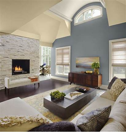 Ceiling Vaulted Living Paint Wall Fireplace Painting