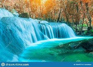 The, Amazing, Colorful, Waterfall, In, Autumn, Forest, Blue, Water