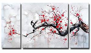 black white red modern abstract cherry blossom wall art With kitchen colors with white cabinets with red cherry blossom wall art