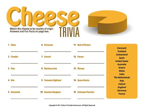 quiz cuisine picnic printable cheese trivia quiz
