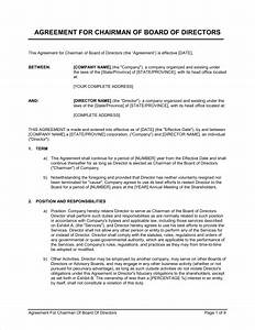 agreement for chairman of board of directors template With board member application template