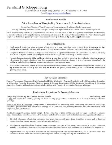 Food And Beverage Resume Sles by B Kloppenburg Resume For Pdf 1