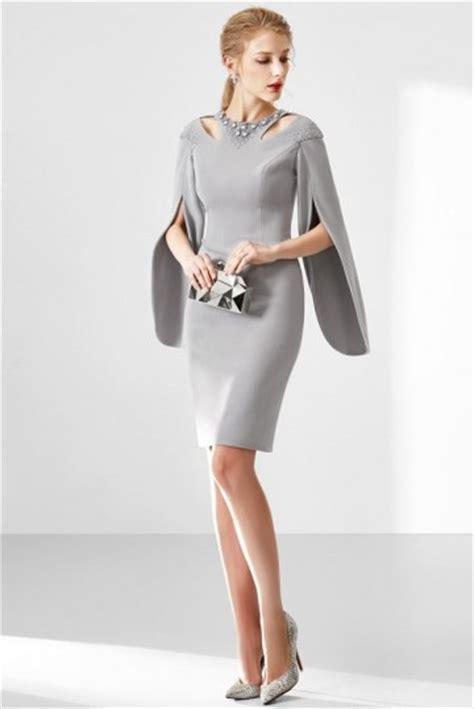 robe habillée pour mariage grise robe de soir 233 e courte manche longue robedesoireecourte fr
