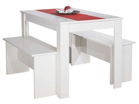 table cuisine banc ensemble 2 bancs table paros coloris blanc vente de